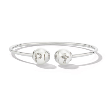 Pearl ID White Gold Bracelet with Pavé Diamond Letter and Symbol