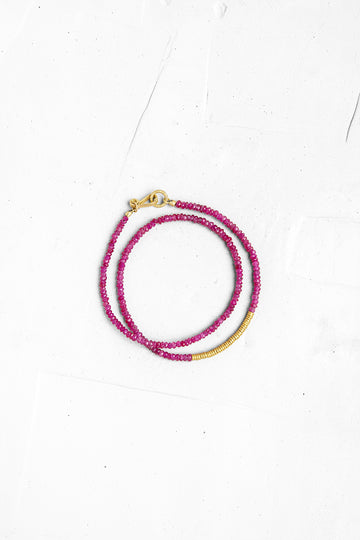 Ruby Bracelet with Gold Links