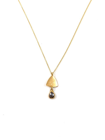 One of a Kind Triangle Drop & Rustic Diamond Necklace