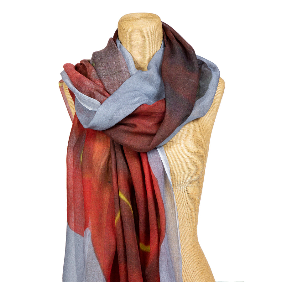 Grey and Red Happy Face scarf