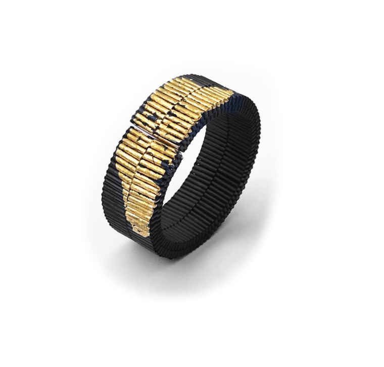 Flat Molla Bracelet with Gold Leaf