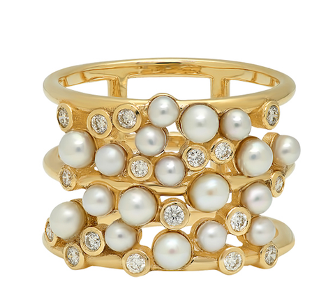 Gold Cuff with Diamond and Pearl