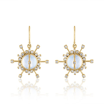 Single Drop Moonstone and Diamond Earrings-2