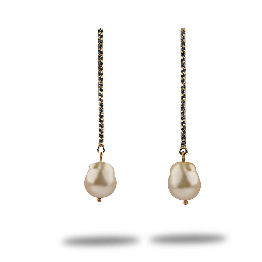 Marissa South Sea Baroque Pearl Matchstick Drop Earrings