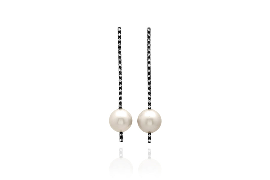Oxidized Silver, Pearl and Diamond Stick Earrings