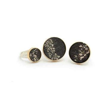 Black Slate with Pyrite Ring Medium