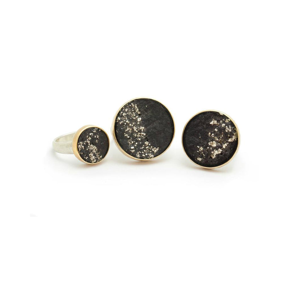 Black Slate with Pyrite Ring Small