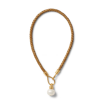 Gold Leather Braided Lasso Hook Necklace