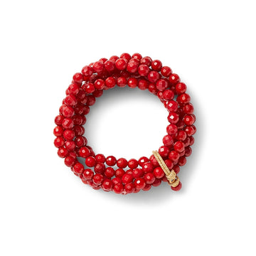Sally cluster bracelet- Red coral