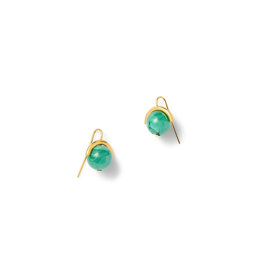 Malachite Sphere Earrings