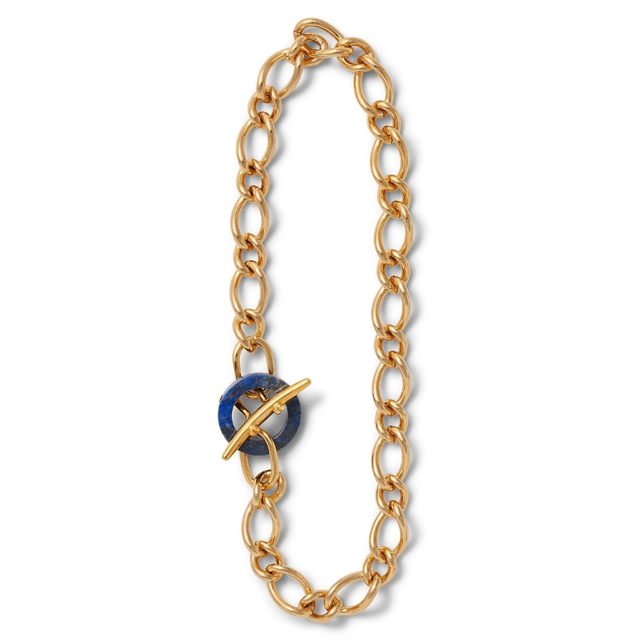 Lapis ring Chunky curb link necklace
