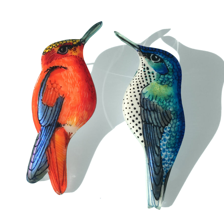 Juan Fernández Island Humming Birds Couple Pair of Brooches