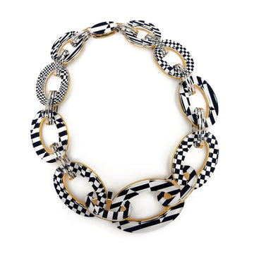 Op Art Print and Gold Reversible Graduated Link Necklace
