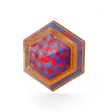 Op Art Print and Gold Hexagon Brooch