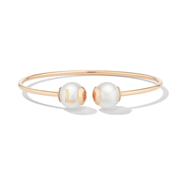 Pearl ID Gold Bracelet with Single Letter or Symbol