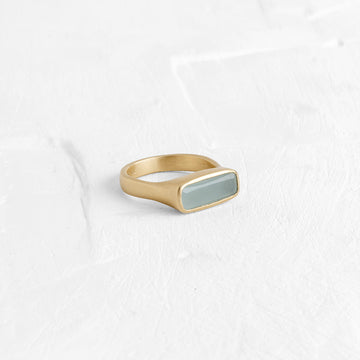 Wide Rectangle Ring with Aquamarine