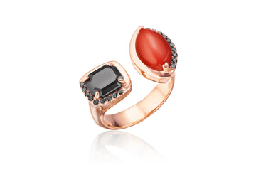 Black Diamonds & Coral One of a Kind Ring