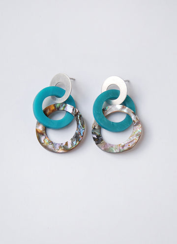 "Round ""Linked""  Turquoise and Abalone Post Earrings"