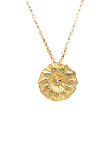Lotus Leaf Petite Diamond Pendant Necklace
