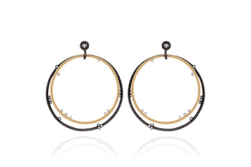 14K Gold, Oxidized Silver, Diamond Floating Hoops