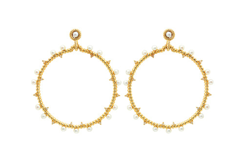 14K Gold Hoops with Diamonds and Pearls
