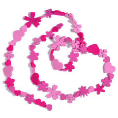 Pink Hearts and Flowers Necklace