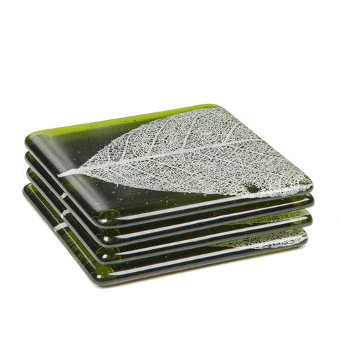 Glass Coaster Set - Leaf