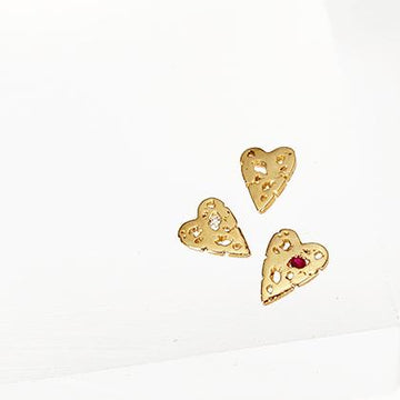 mini shadow heart stud with ruby