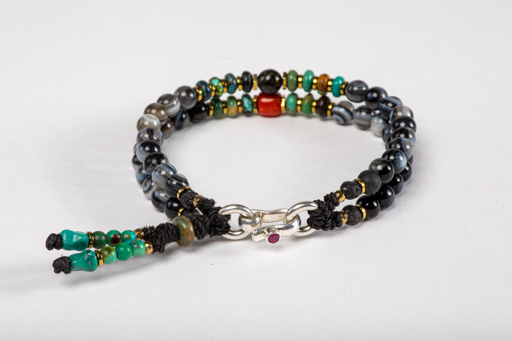 Black agate beads Bracelet - Red Coral, Turquoise