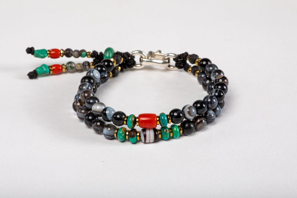 Black agate beads Bracelet - Red Coral, striped Agate