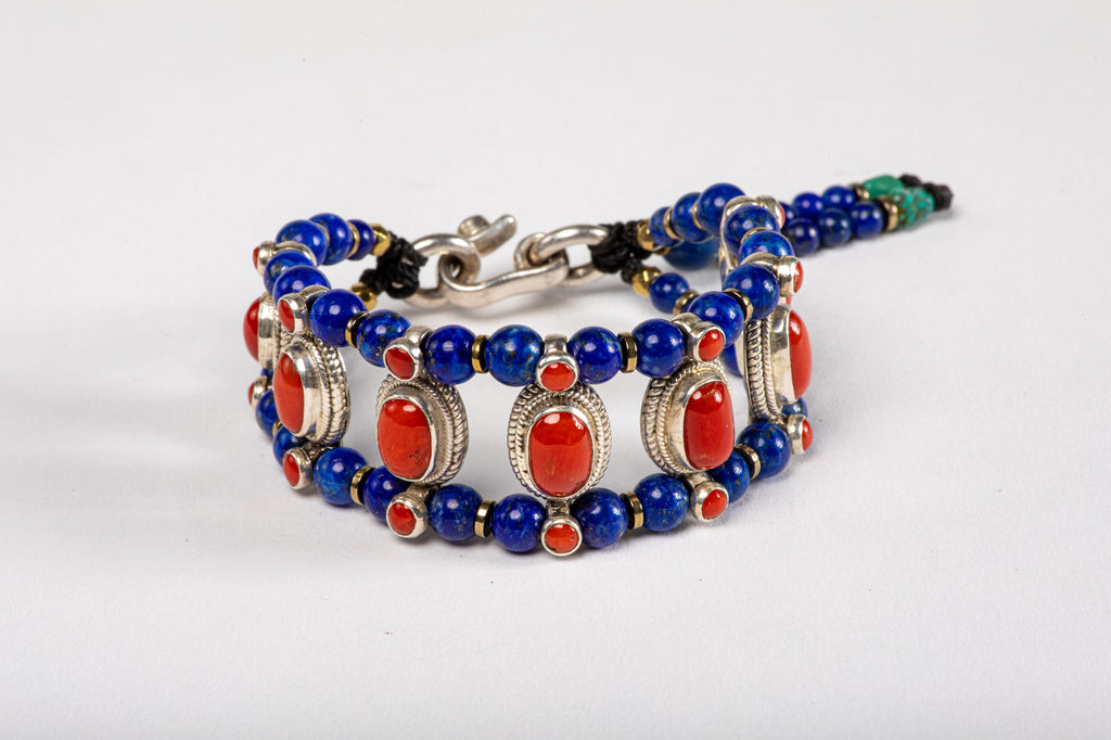 Red coral Setting Bracelet  with Lapis