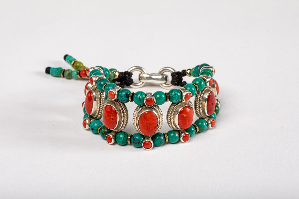 Red coral Setting Bracelet  with Turquoise