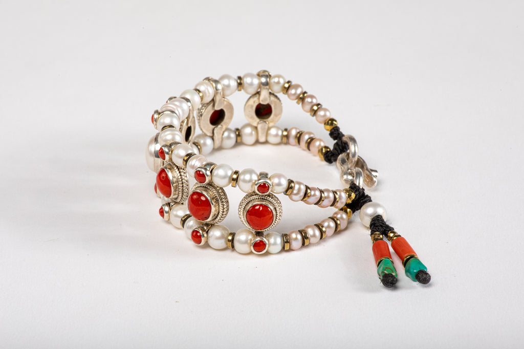Red coral & Pearl Setting Bracelet  with Pearl