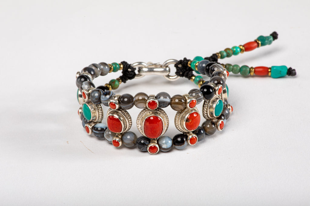 Red coral & Turquoise Setting Bracelet  with Agate