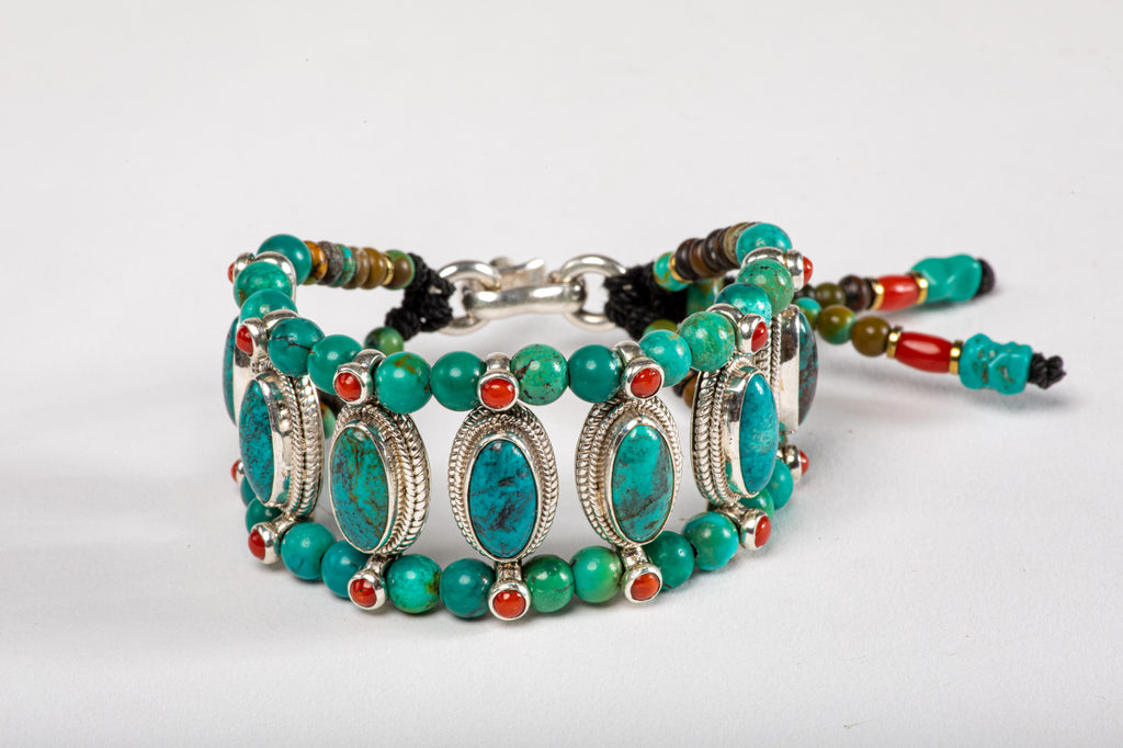 Oval Turquoise Setting Bracelet  with Turquoise