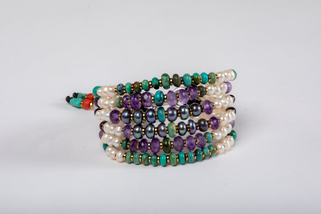 Six strings Royal Bracelet   Amethyst, Turquoise, Black Pearl