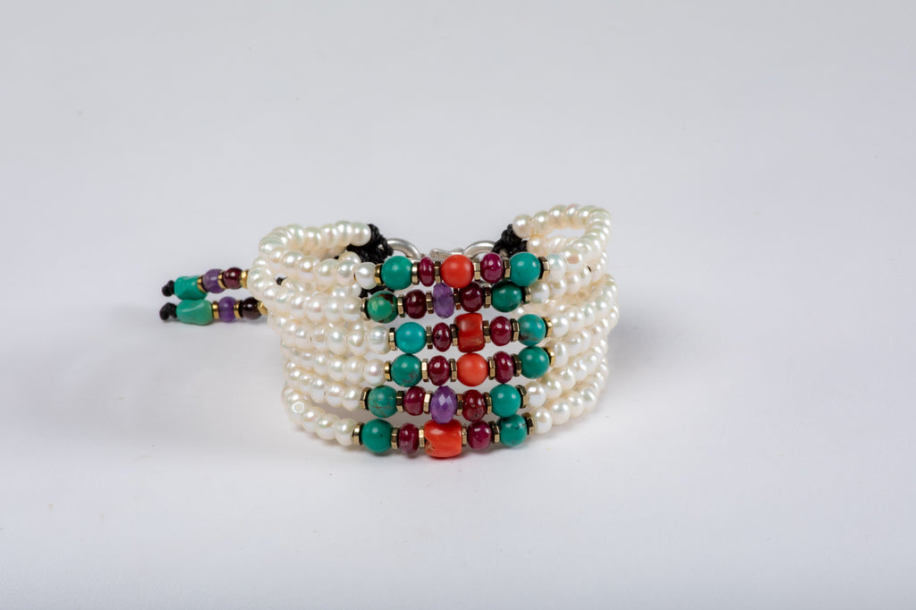 Six strings Royal Bracelet - Turquoise, Ruby, Coral