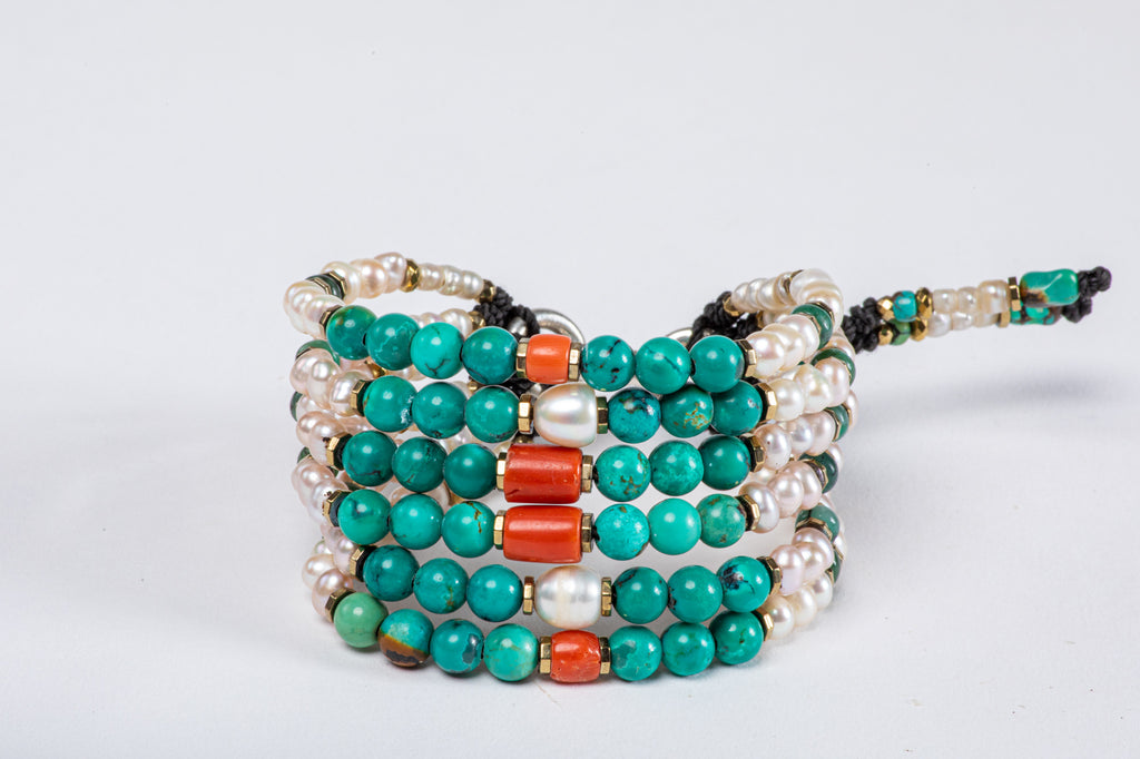 Six strings Royal Bracelet  - Coral, Turquoise, Pearl