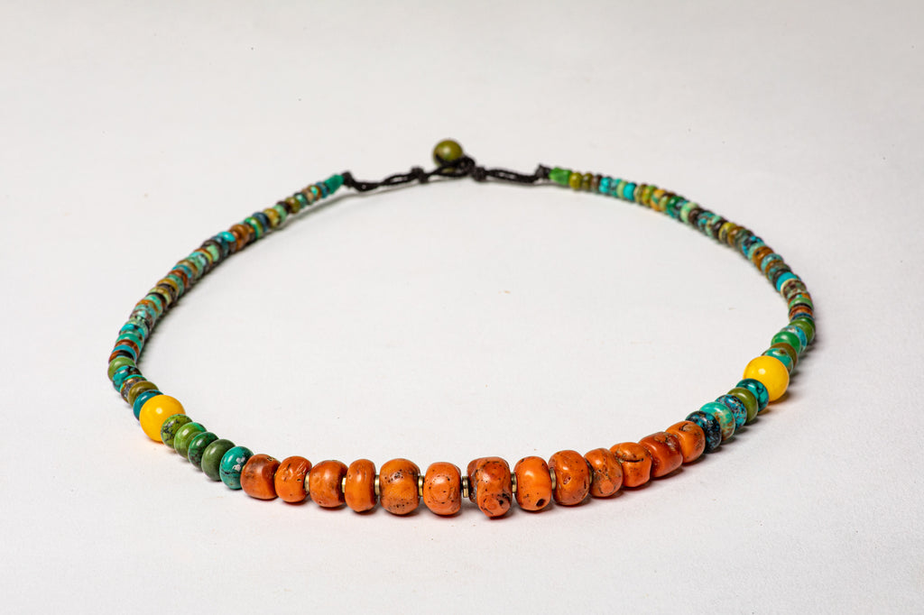 Turquoise necklace with antique Tibetan Coral center
