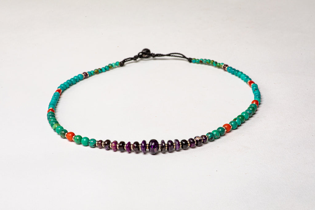 Turquoise necklace with Sujilite center