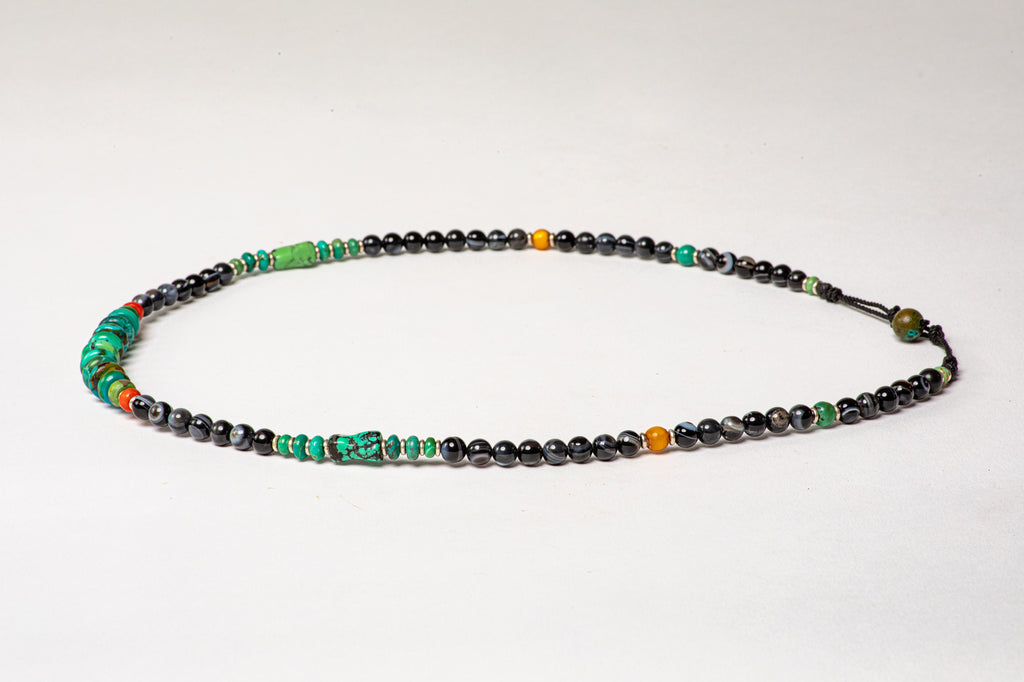 Black Agate necklace with Turqouise  center