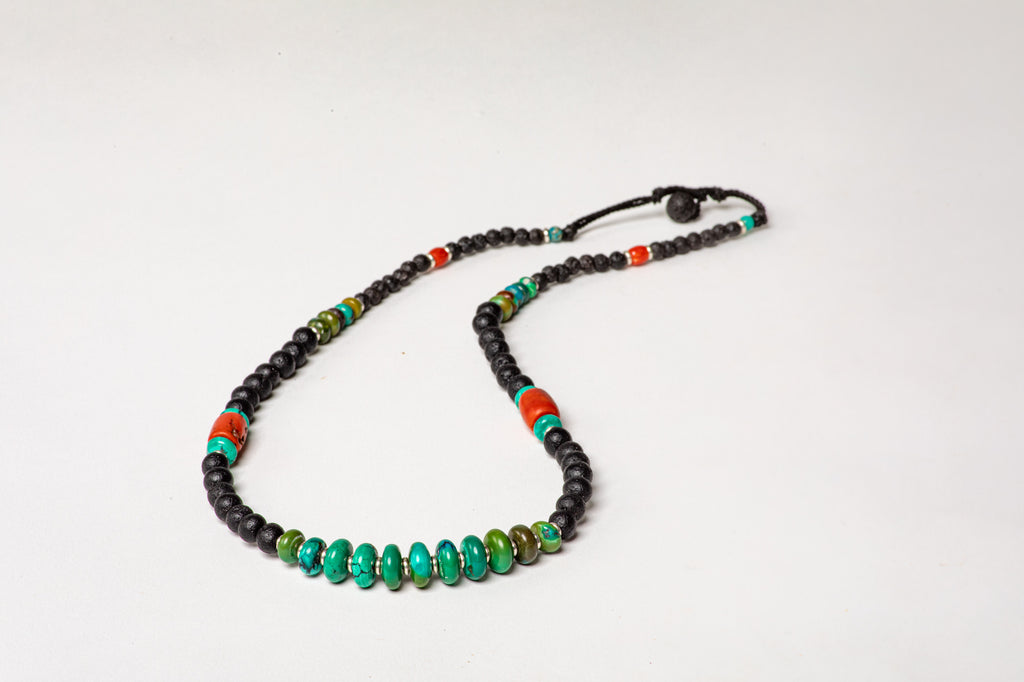 Lava necklace with Turqouise  center