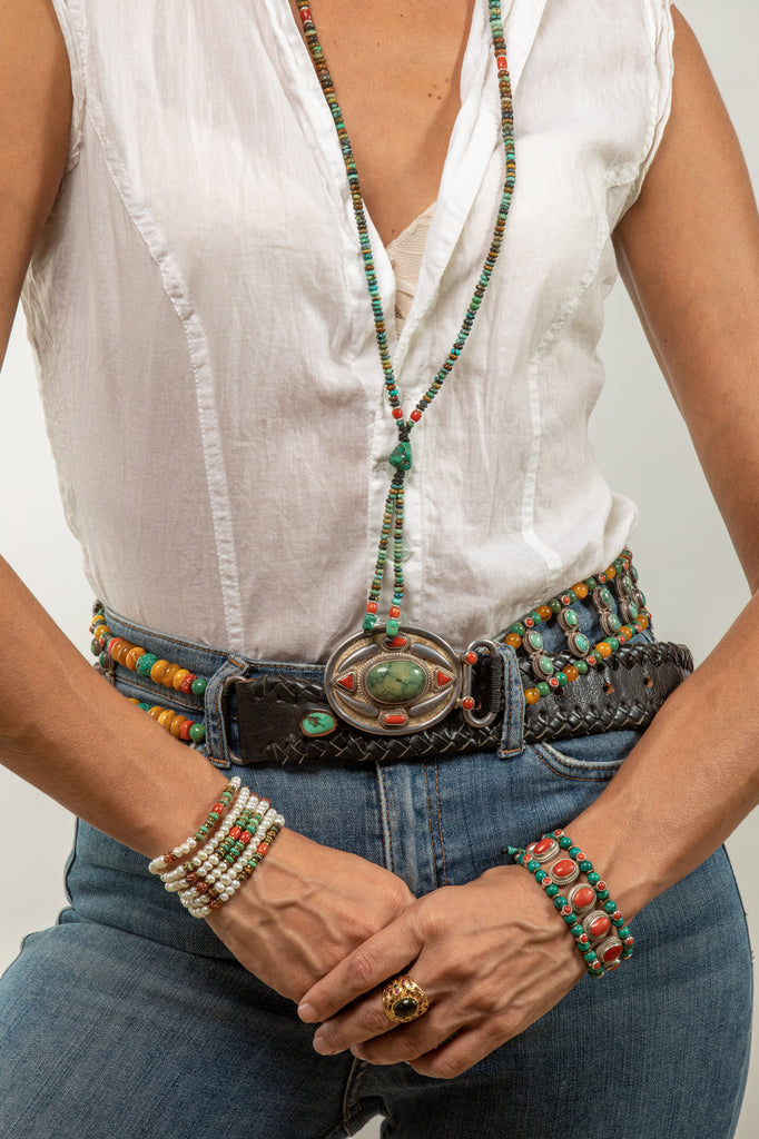 Long Turqouise Mala necklace with Tassle