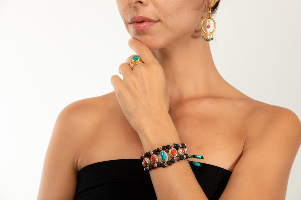 Red coral & Turquoise Setting Bracelet  with Lava