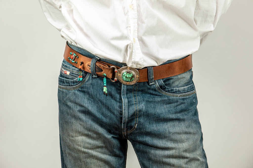 Brown leather belt  with Tibetean Turqouise buckle