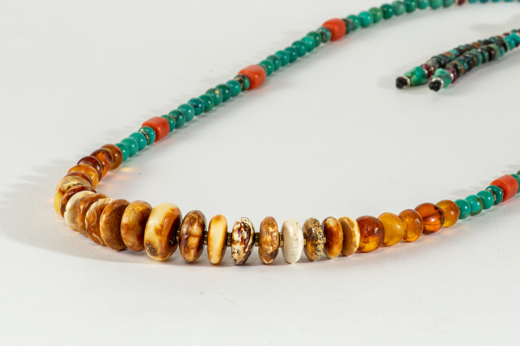 Long Amber Mala necklace with Tassle
