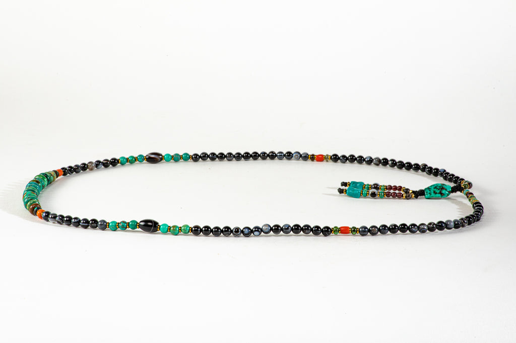 Long Black Agate Mala necklace with Tassle