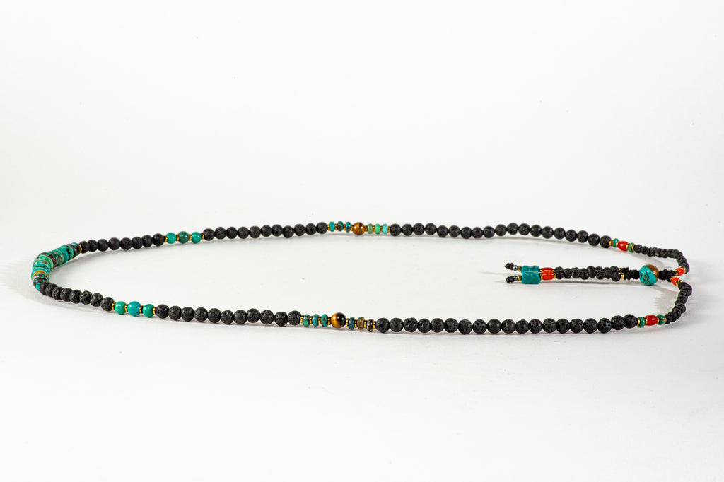 Long Lava Mala necklace with Tassle
