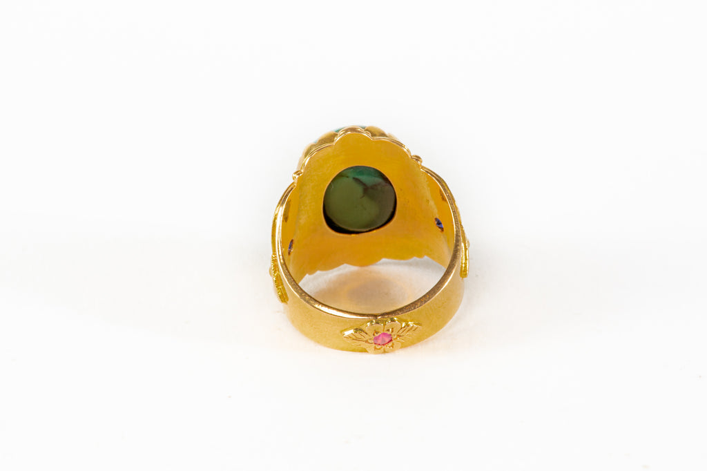 Antique Tibetan Turquoise gold Ring