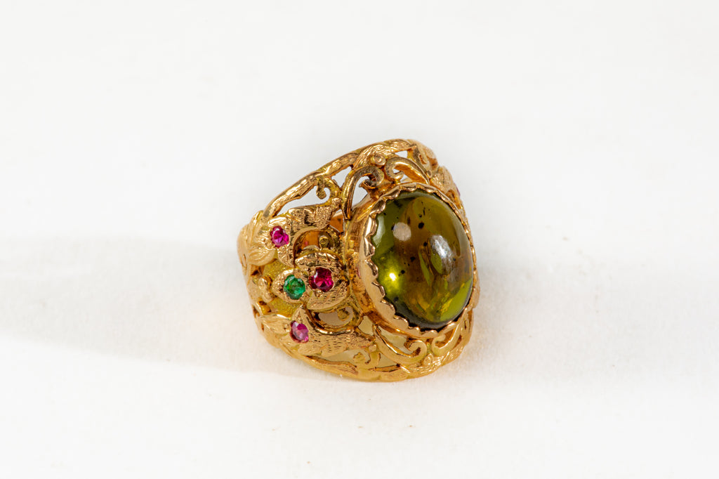 Royal Green Tourmaline gold Ring